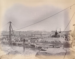 Sheet piling at back of abutments, October 1888.